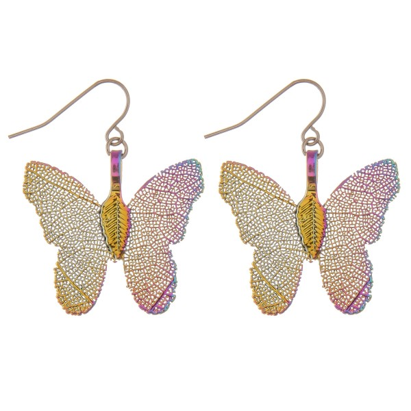 "White Gold dipped short filigree butterfly drop earrings.  - Approximately 1.25"" L"
