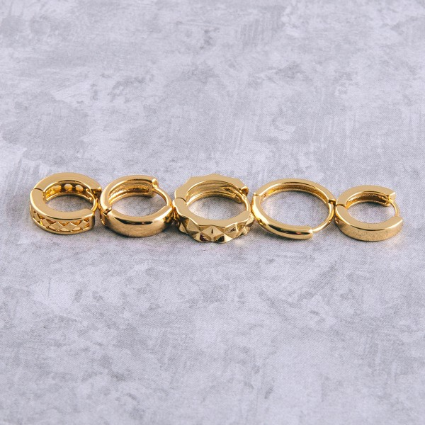 Gold dipped squared off huggie hoop.   - Approximately 1cm in diameter