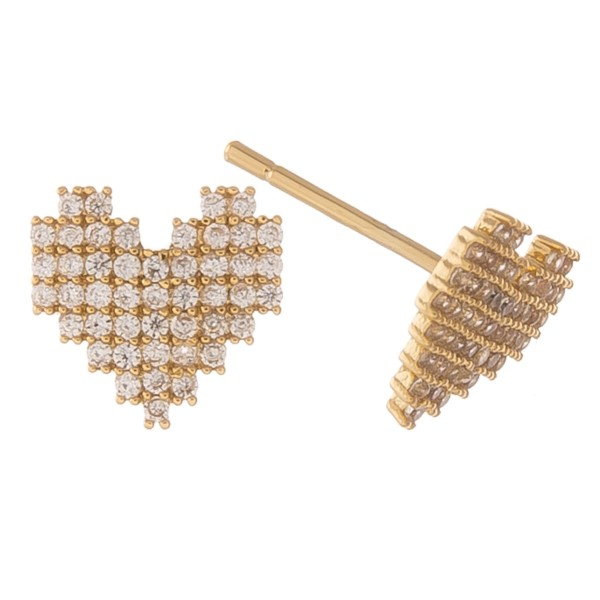 Gold dipped cubic zirconia heart stud earrings.  - Cubic Zirconia - Approximately 1cm in size
