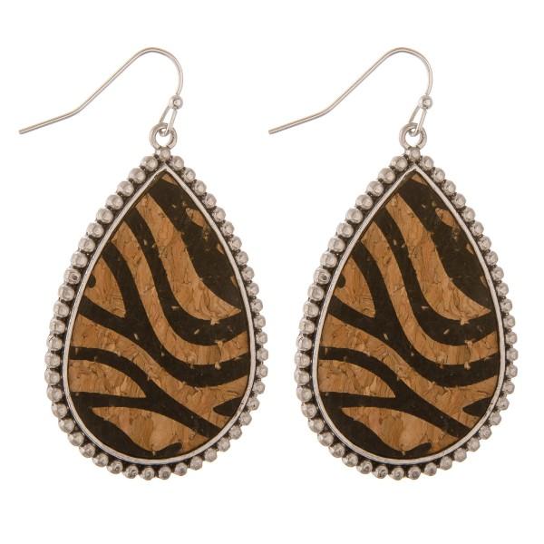 """Zebra print cork encased teardrop earrings.  - Approximately 2"""" in length"""