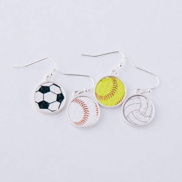 """Faux leather encased volleyball earrings.  - Approximately 1"""" in length and .5"""" in diameter"""