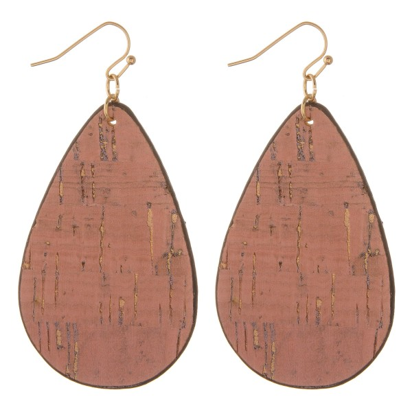 """Faux cork teardrop earrings with metallic accents.  - Approximately 3"""" in length"""