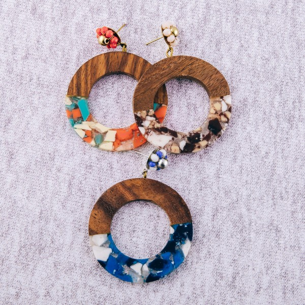 """Half resin half wood retro earrings with beaded flower stud accent.  - Approximately 2.5"""" in length and 2"""" in diameter"""