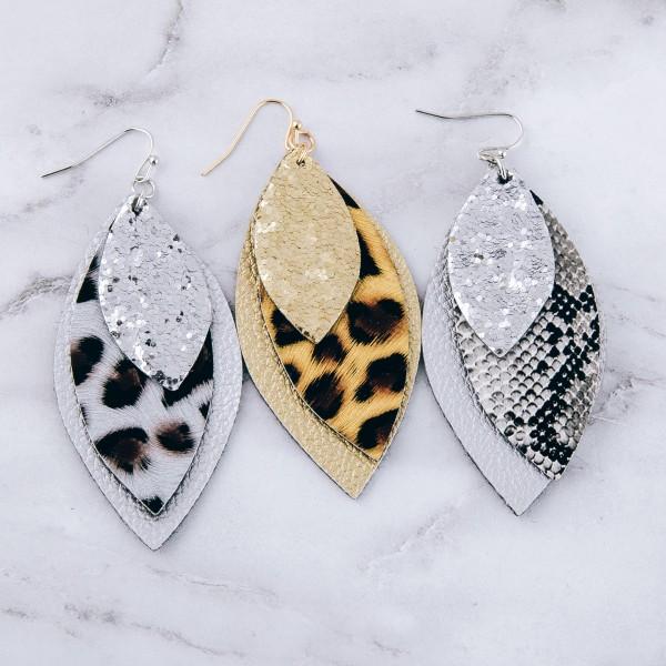 """Glittery leopard print felt drop earrings.  - Approximately 3"""" in length"""