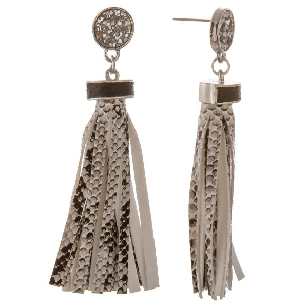 """Faux leather snakeskin tassel earrings with glitter stud accent.  - Approximately 3"""" in length"""