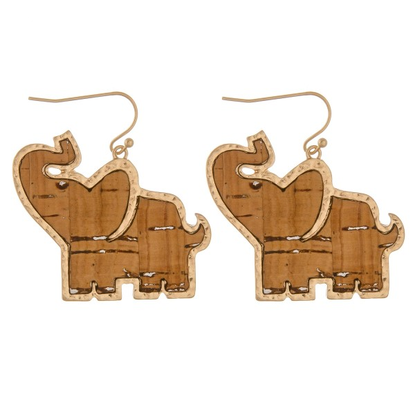 "Cork encased elephant earrings.  - Approximately 1.5"" in length"