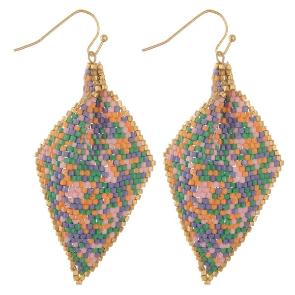 "Seed beaded pleat drop earrings.  - Approximately 2.5"" L"
