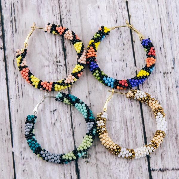 """Mosaic seed beaded hoop earrings.  - Approximately 1.5"""" in diameter"""