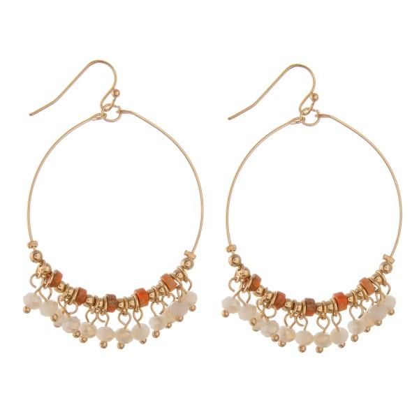 """Semi precious beaded bohemian earrings.  - Approximately 2"""" in length and 1.5"""" diameter"""