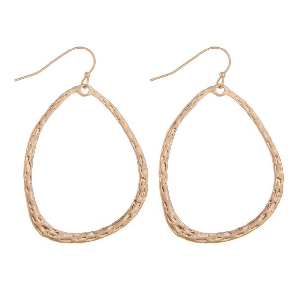 """Asymmetrical hammered teardrop earrings.  - Approximately 2"""" L"""