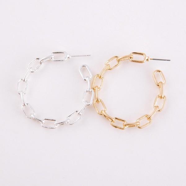 """Metal chain link hoop earrings.  - Approximately 1.75"""" in diameter"""