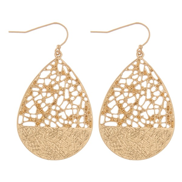 "Metal filigree teardrop earrings.  - Approximately 2"" L"
