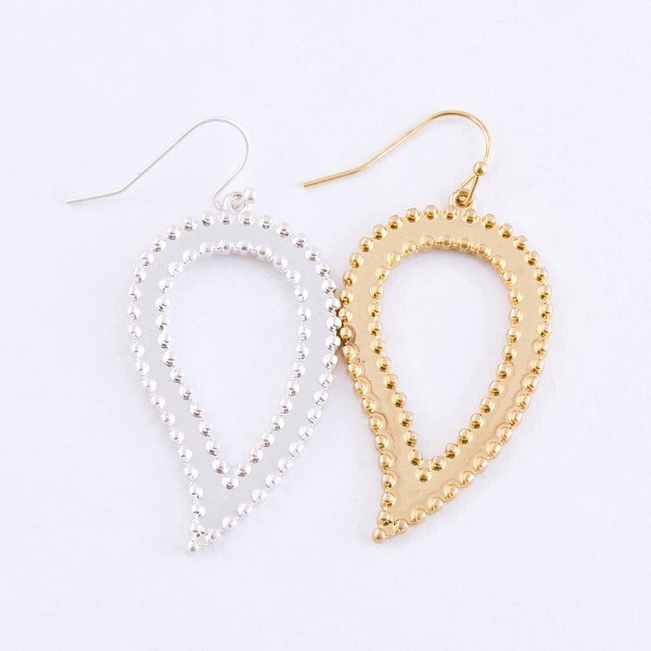 "Inverted metal cut out teardrop earrings.  - Approximately 2"" L"