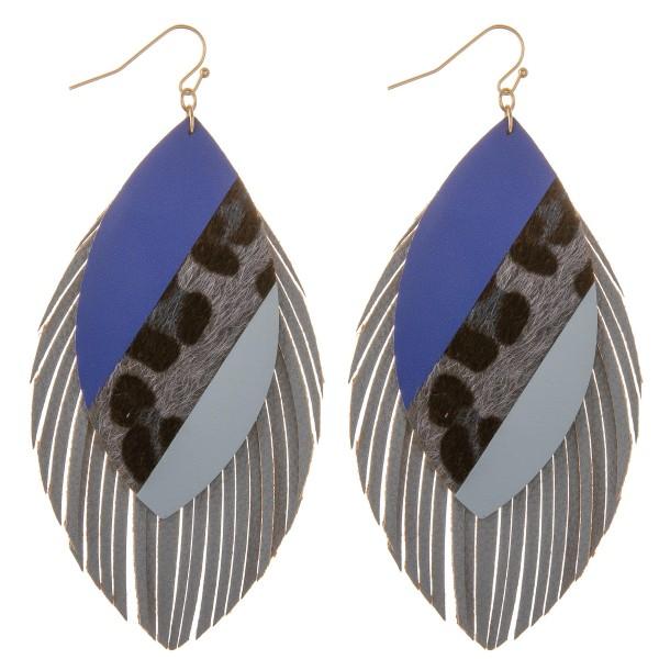 "Faux leather leopard print color block fringe tassel statement earrings.  - Approximately 4"" L"