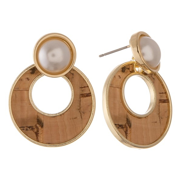 "Natural colored faux pearl encased pearl drop earrings.  - Approximately 1"" in diameter"