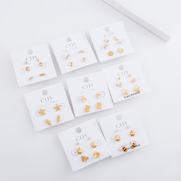 Dainty Gold Cubic Zirconia enamel coated garden stud earring set.  - 3pairs/set - Ladybugs, Bee's & Cubic Zirconia  - Approximately 6mm