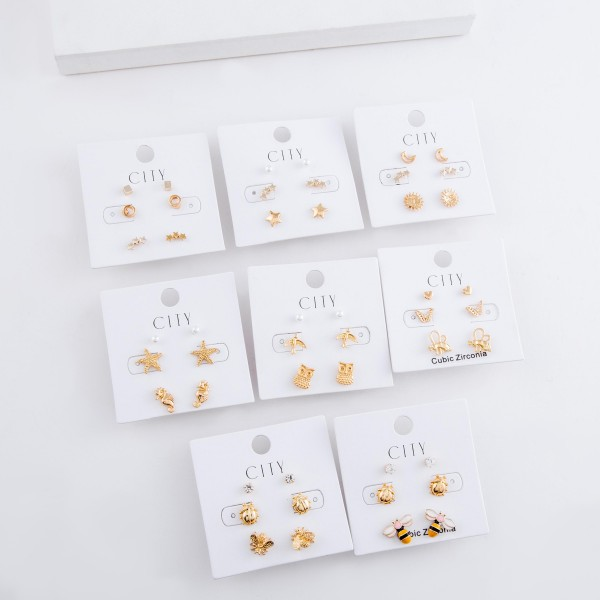 Dainty Gold sea life pearl stud earring set.  - 3pairs/set - Seahorse, Starfish & Pearls - Approximately 6mm
