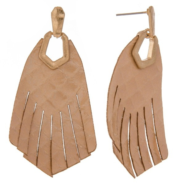 """Thin Genuine Leather solid animal print hinge tassel drop earrings.  - Approximately 2.5"""" L"""