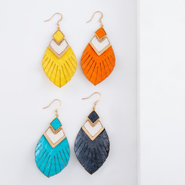 """Genuine Leather animal print feather tassel hinge drop earrings.  - Approximately 3"""" L"""