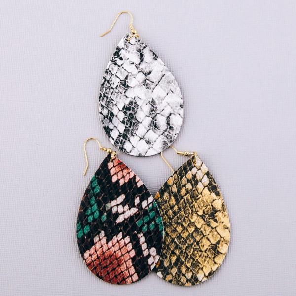 """Faux leather snakeskin teardrop statement earrings.  - Approximately 3.5"""" L"""