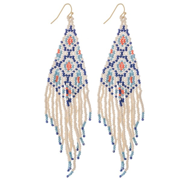"Ivory Multi Seed Beaded Fringe Tassel Statement Earrings.  - Approximately 5"" L"