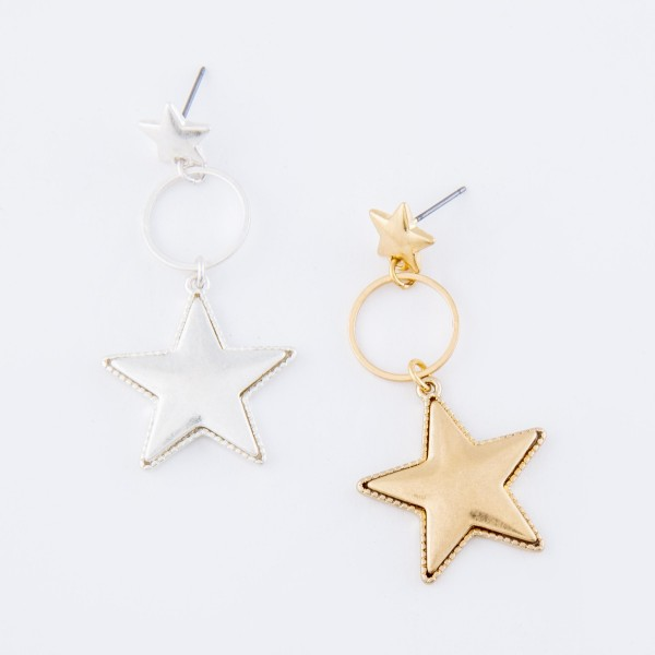 Worn Gold Star Drop Earrings with Stud Post