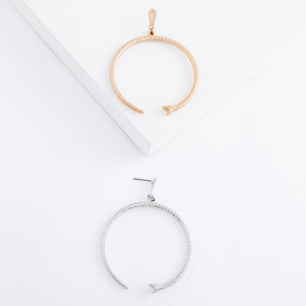 """Designer inspired inverted snake drop earrings.  - Approximately 2.5"""" L - 2"""" in diameter"""