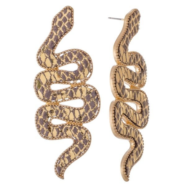 "Long snake shaped earrings featuring textured details.  - Approximately 3"" L"