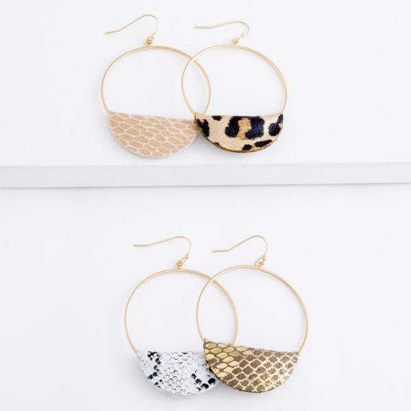"Faux Leather Snakeskin Cuffed Circular Drop Earrings.  - Approximately 2.5"" L"