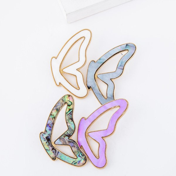 "Butterfly match drop earrings.  - Stud post - Approximately 2.75"" L"