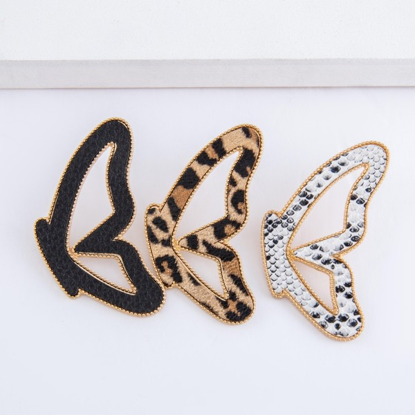 "Faux leather encased butterfly match drop earrings.  - Stud post - Approximately 2.75"" L"