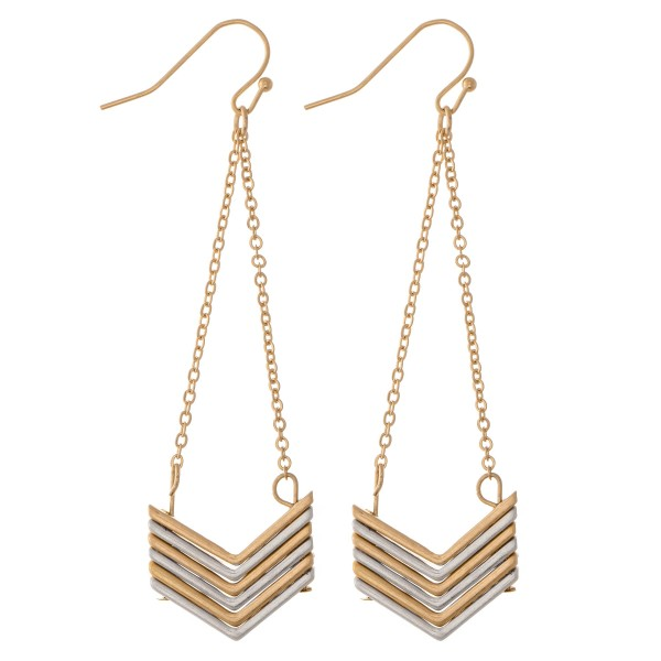 "Two Tone Chevron Chain Link Drop Earrings.  - Approximately 3"" L"