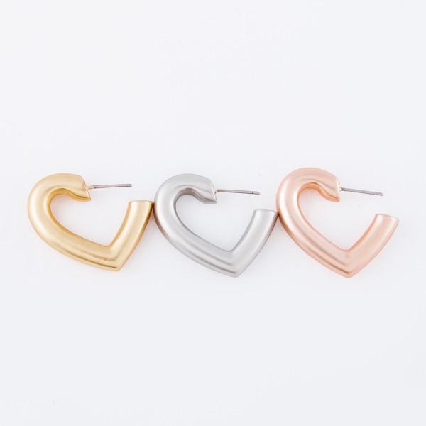 "Short heart shaped metal earrings - Approximately 1"" L"