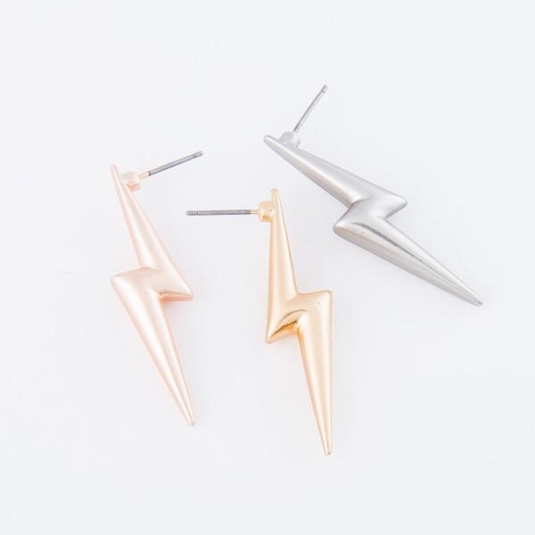 """Metal lightning bolt earrings - Approximately 1.5"""" L"""