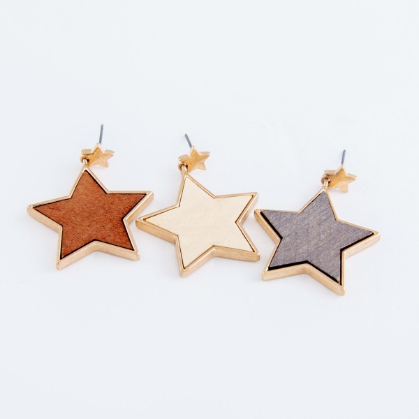 "Metal encased wooden star drop earrings.  - Approximately 1.5"" L"