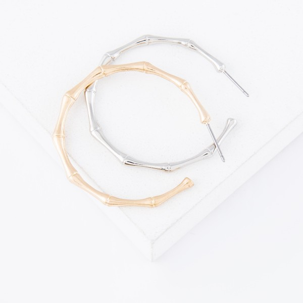 """Metal hoop earrings with bamboo inspired accents  - Approximately 1.5"""" L"""