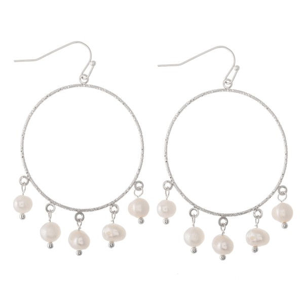 """Circular earrings featuring freshwater pearl accents.  - Approximately 1.5"""" in diameter"""