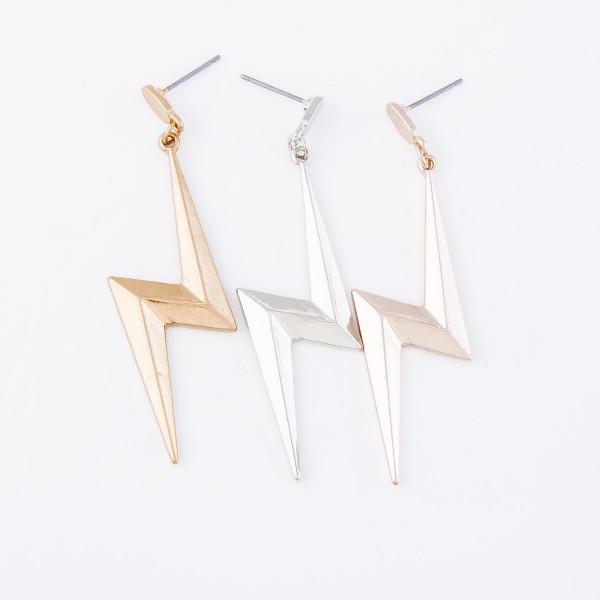 "Lightning bolt drop earrings  - Approximately 2.5"" L"