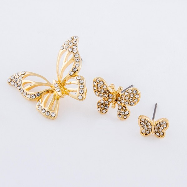 "Gold rhinestone butterfly dangle earrings with stud post.  - Approximately 1"" L"