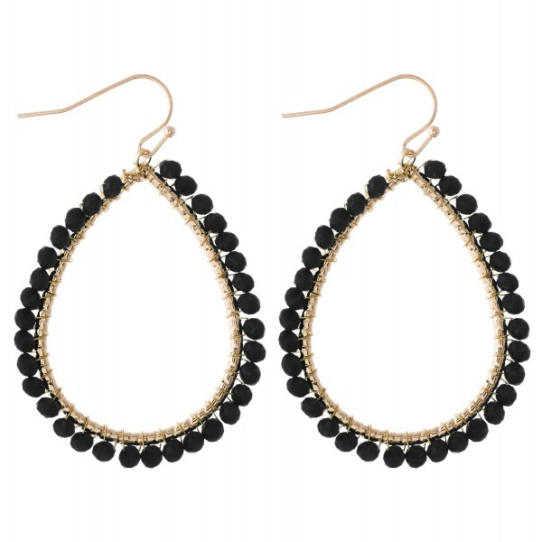 "Beaded teardrop earrings.  - Approximately 2"" L"