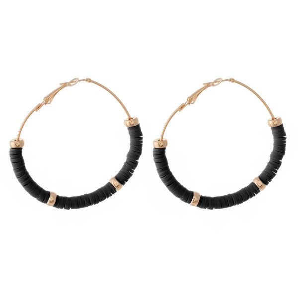 "Polymer Clay spacer disc beaded statement hoop earring with gold accents.  - Approximately 2"" in diameter"