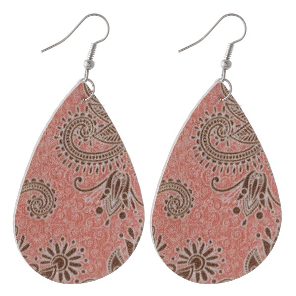 "Floral paisley faux leather teardrop earrings.  - Approximately 3"" L"