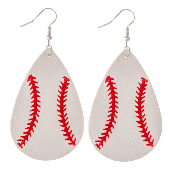 "Baseball embroidered faux leather teardrop earrings.  - Approximately 3"" L"