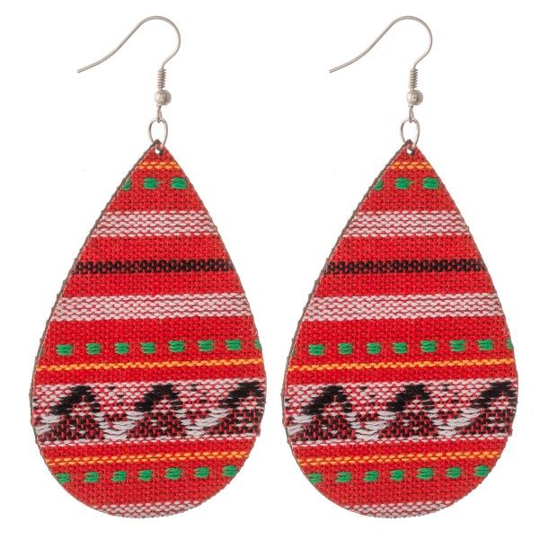 "Ethnic print fabric statement teardrop earrings.  - Approximately 3.5"" L"