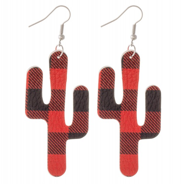 "Buffalo check faux leather cactus drop earrings.  - Approximately 3"" L"