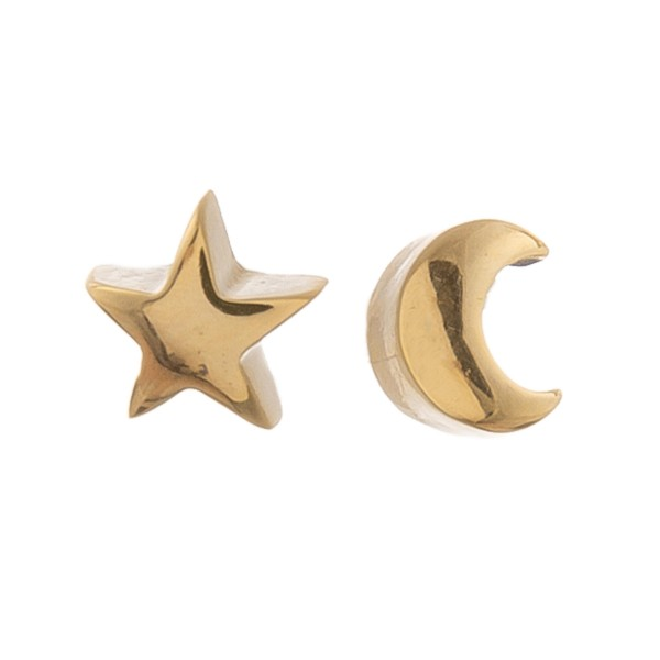 Gold dipped dainty moon & star mix match stud earrings.  - Approximately 5mm