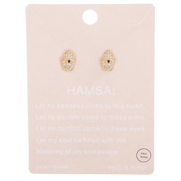 Gold dipped dainty rhinestone hamsa stud earrings.  - Approximately 1cm