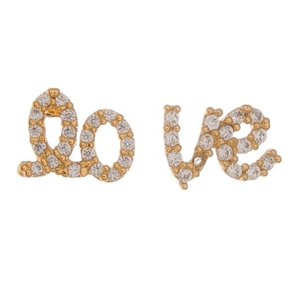 "Gold dipped dainty rhinestone ""lo-ve"" stud earrings.  - Approximately 1cm"