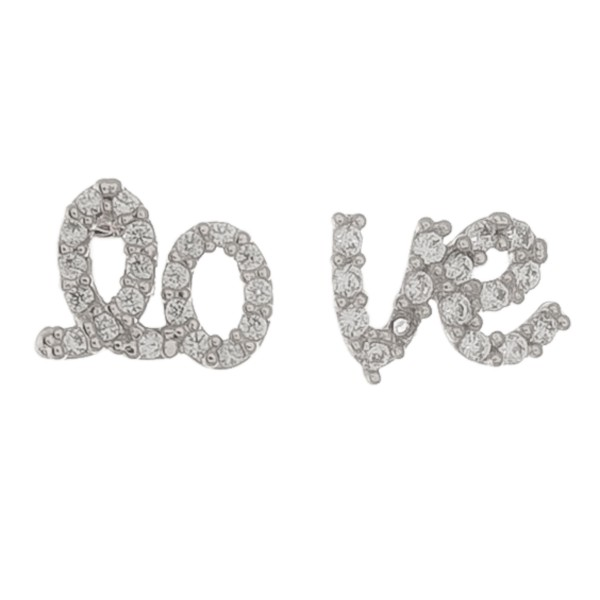 "White Gold dipped dainty rhinestone ""lo-ve"" stud earrings.  - Approximately 1cm"