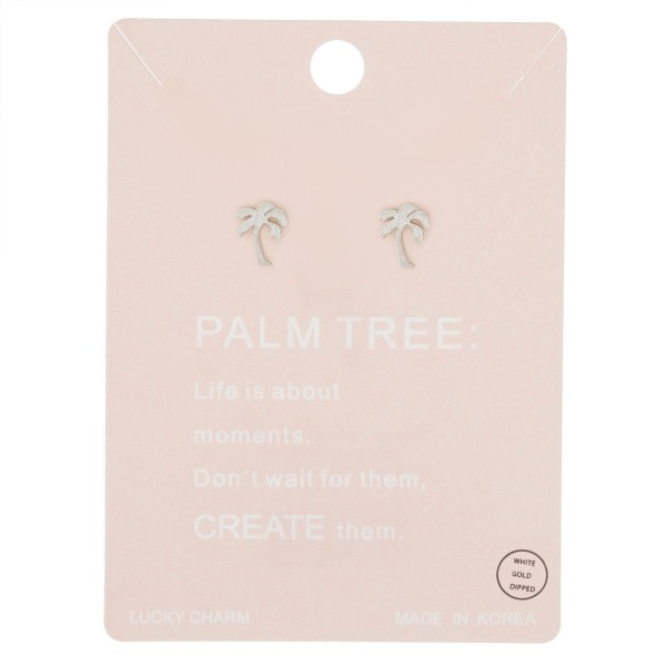 White Gold dipped dainty palm tree stud earrings.  - Matte finish - Approximately 8mm